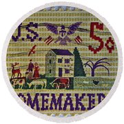 1964 Homemakers Five Cent Stamp Round Beach Towel