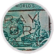 1964 New York World's Fair Stamp Round Beach Towel
