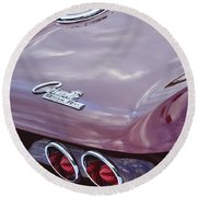1965 Chevrolet Corvette Tail Light Round Beach Towel