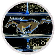 1965 Ford Shelby Mustang Grille Emblem Round Beach Towel
