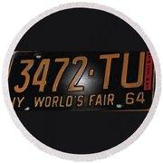 1965 New York World's Fair License Plate Round Beach Towel