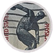 1965 Physical Fitness Stamp Round Beach Towel