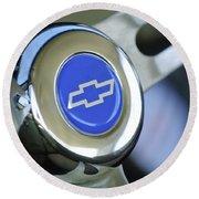 1966 Chevrolet Nova Steering Wheel Emblem Round Beach Towel