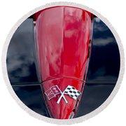 1967 Chevrolet Corvette Hood Emblem 5 Round Beach Towel