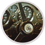 1968 Aston Martin Db6 Steering Wheel Emblem Round Beach Towel