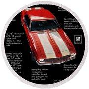 1968 Chevrolet Z/28 Camaro  Round Beach Towel