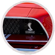 1968 Ford Mustang 427 Ci Fastback Grille Emblem Round Beach Towel