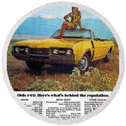1968 Oldsmobile 4-4-2 - Here's What's Behind The Reputation. Round Beach Towel