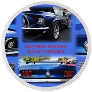 1969 Ford Mustang Mach 1 Fastback Round Beach Towel