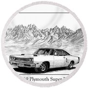 1969 Plymouth Super Bee Round Beach Towel by Jack Pumphrey