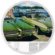 1969 Pontiac Gto And Firebird Round Beach Towel