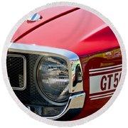 1969 Shelby Gt500 Convertible 428 Cobra Jet Grille Emblem Round Beach Towel