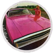1970 Dodge Charger Tickled Pink Round Beach Towel