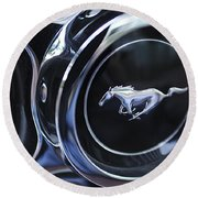 1970 Ford Mustang Gt Mach 1 Wheel Rim Emblem Round Beach Towel