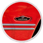 1970 Volkswagen Vw Karmann Ghia Emblem Round Beach Towel
