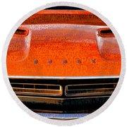 1971 Dodge Challenger - Orange Mopar Typography - Mp002 Round Beach Towel