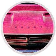 1971 Dodge Challenger - Pink Mopar Typography Round Beach Towel