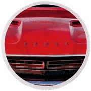 1971 Dodge Challenger - Red Mopar Typography Round Beach Towel