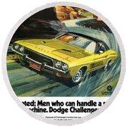 1973 Dodge Challenger Rallye Round Beach Towel