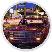1979 Dodge Li'l Red Express Truck Round Beach Towel
