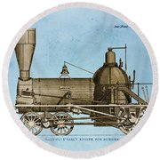 19th Century Locomotive Round Beach Towel