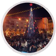 1st International Christmas Festival Round Beach Towel