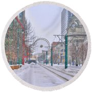 1st Real Snow Golddome 2012 Round Beach Towel