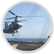 A Ch-46e Sea Knight Helicopter Prepares Round Beach Towel