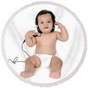 A Chubby Little Girl Listen To Music With Headphones  Round Beach Towel