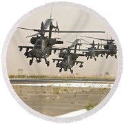 A Group Of Ah-64d Apache Helicopters Round Beach Towel