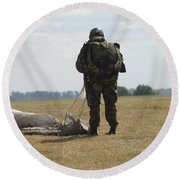 A Member Of The Pathfinder Platoon Round Beach Towel