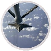 A Three Ship Formation Of F-22 Raptors Round Beach Towel by Stocktrek Images