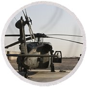 A Uh-60 Black Hawk Helicopter Parked Round Beach Towel