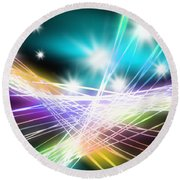 Abstract Of Stage Concert Lighting Round Beach Towel by Setsiri Silapasuwanchai