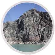 Acidic Crater Lake, Kawah Ijen Volcano Round Beach Towel