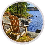 Adirondack Chairs At Lake Shore Round Beach Towel