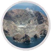 Aerial View Of White Island Volcano Round Beach Towel