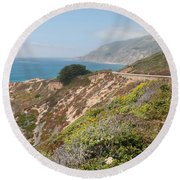 Along Big Sur Round Beach Towel
