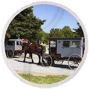 Amish Buggies Round Beach Towel