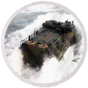 An Amphibious Assault Vehicle Round Beach Towel