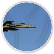 An Fa-18c Hornet In Flight Round Beach Towel