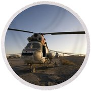 An Iraqi Helicopter Sits On The Flight Round Beach Towel