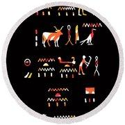 Ancient Egyptian Hieroglyphs Round Beach Towel