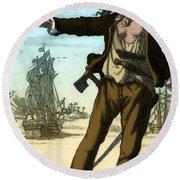 Anne Bonny, 18th Century Pirate Round Beach Towel