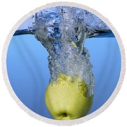 Apple Dropped In Water Round Beach Towel