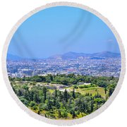 Athens Greece Round Beach Towel