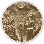 Babylonian Boundary Stone Round Beach Towel by Science Source