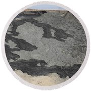 Basaltic Lava Flow From Pit Crater Round Beach Towel