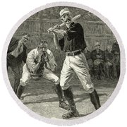 Baseball, 1888 Round Beach Towel