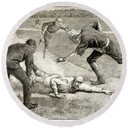 Baseball Game, 1885 Round Beach Towel